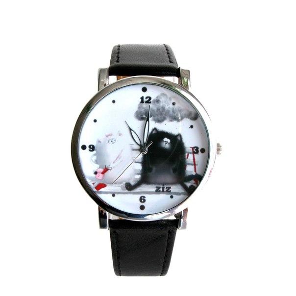Наручные часы с изображением довольных котиков на лавочке. 460 грн. Размер циферблата: 3,8 см. Материал ремешка